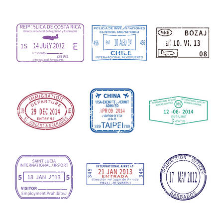 international business and vacations travel stamps for passport set