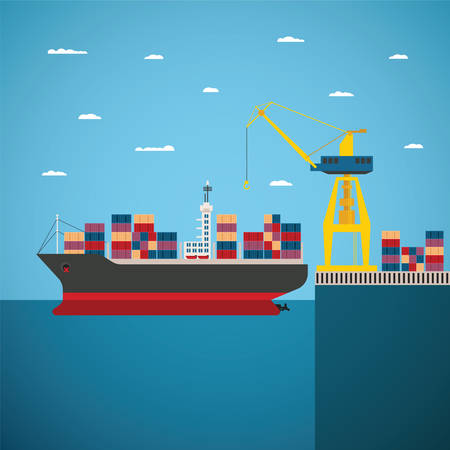 ports: concept of river ocean and sea freight shipping by water Illustration