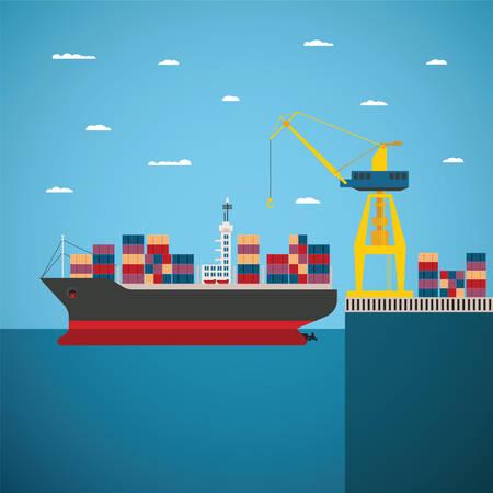comercio: concepto de río océano y envío de la carga de mar por el agua