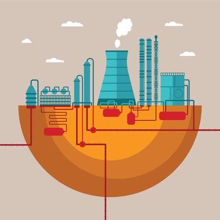 destilacion: concepto de la planta de refinería para procesar los recursos naturales o productos de fabricación de la fábrica con la red de tuberías de distribución Vectores