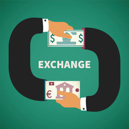 world market: concept of currency exchange process