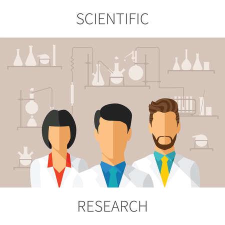 investigando: Ilustraci�n del concepto de la investigaci�n cient�fica con los cient�ficos en el laboratorio de qu�mica