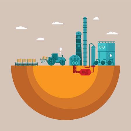 destilacion: Vector concepto de planta de biocombustibles de la refinería para el procesamiento de recursos naturales como el biodiesel