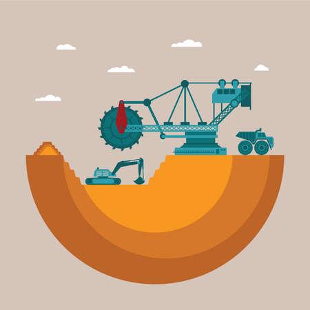 camion minero: Vector concepto de la m�a en lugar de dep�sito mineral con el mont�n de residuos