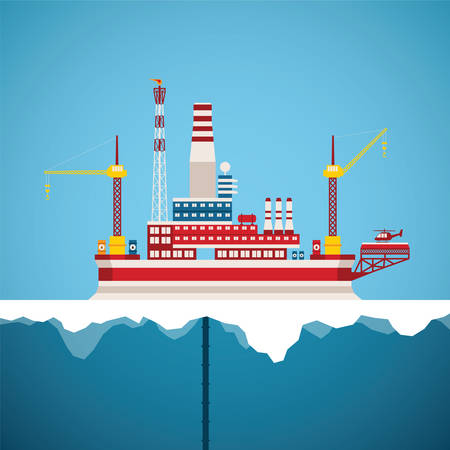 oil and gas industry: Vector concept of arctic oil and gas offshore industry with stationary platform Illustration