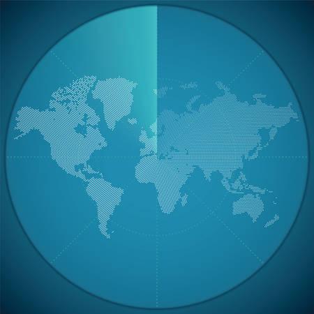 sonar: Vector illustration concept de carte du monde sur l'�cran du sonar num�rique