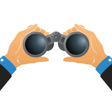night suit: Vector illustration with binoculars in human hands isolated on white Illustration