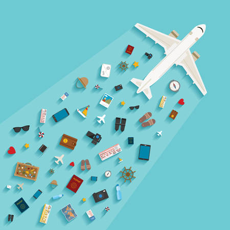 Vector modern flat style concept for tourism industry, travelling on airplane, planning summer vacations. Illusztráció