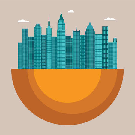 front office: Cityscape vector illustration concept with office buildings and skyscrapers