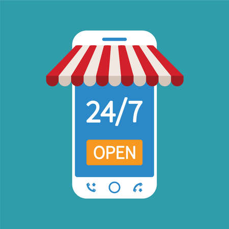 internet marketing: Concept of day and night online shop on modern smart phone