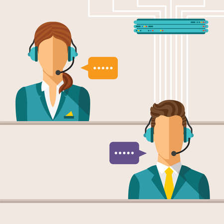 Vector call center concept with man and woman in headset Illusztráció