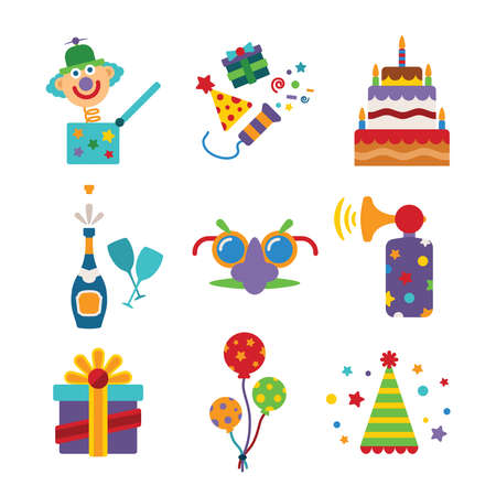 Set of vector colorful celebration icons in flat style like pie champagne wineglass gift box air balloon funny mask cap and jack in the box Vector