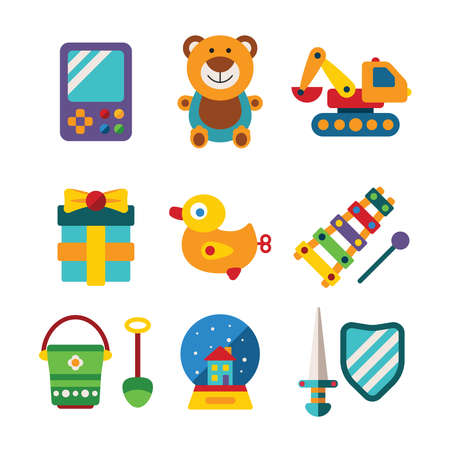 toys clipart: Set of vector colorful kids toys in flat style like portable game teddy bear excavator duck gift bucket snow globe sword shield and xylophone Illustration
