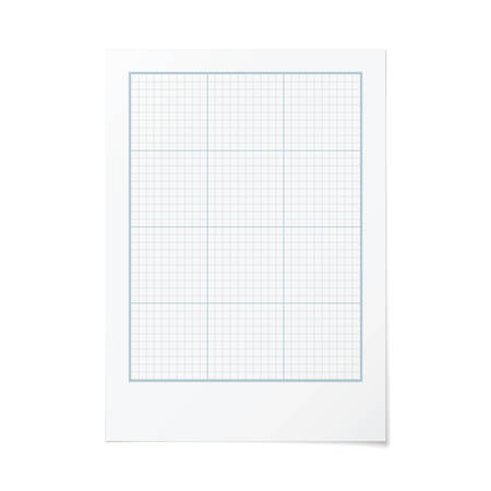 portrait orientation: Vector portrait orientation engineering graph paper with 5 and 3 metric divisions Illustration