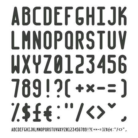 narrow: Vector simple narrow outline font with uppercase letters of latin charset punctuation marks and numbers