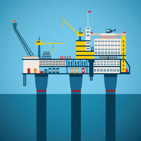 oil platform: Vector concept of oil and gas offshore industry with stationary platform