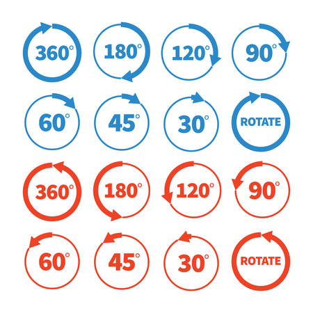90: Different rotation angles vector icon set 360 180 120 90 60 45 30 degree