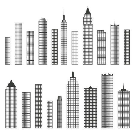 penthouse: Set of vector flat building icons isolated on white background