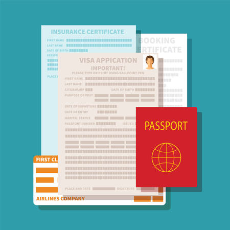 documents icon: Vector concept of documents for visa application set