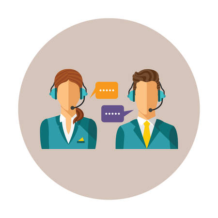 phone operator: Vector call center concept with man and woman in headset Illustration