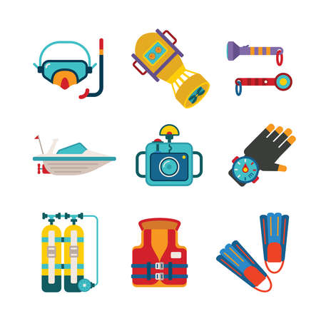 lifejacket: Set of vector colorful diving icons like mask fins flippers flashlight sea boat underwater photo camera and scuba in flat style