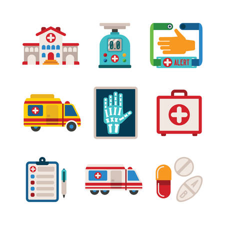 Set of vector colorful medical icons like hospital building ambulance car first aid kit x-ray pills drugs and tablets in flat style