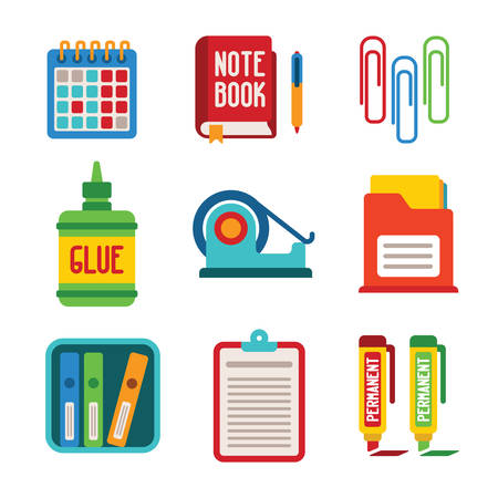 tape marker: Set of vector colorful office icons like calendar notebook glue tape marker and folder in flat style