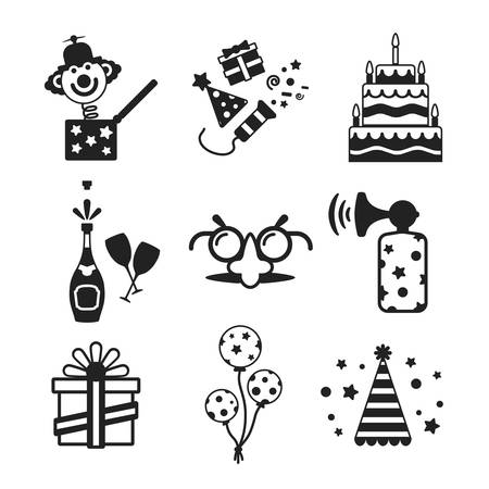 jack in a box: Set of vector monochrome celebration icons in flat style like pie champagne wineglass gift box air balloon funny mask cap and jack in the box Illustration