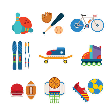 rollers: Set of vector colorful sports icons like bowling baseball bicycle alpine skiing skateboard rollers american football and basketball in flat style