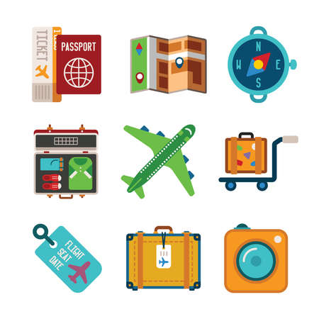 luggage carrier: Set of vector colorful travel icons like map air ticket airplane baggage photo camera and compass in flat style