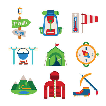 Set of vector colorful hiking icons like backpack tent compass windbreaker bowler and climbing shoes in flat style Vector