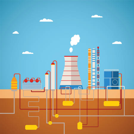 Vector concept of refinery plant for processing natural resources or manufacturing products factory with distribution pipes network
