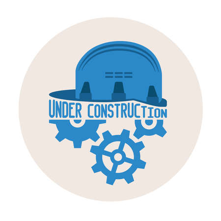 Under construction vector concept with helmet and gears Vector