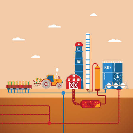 ressources naturelles: Vector concept de plante biocarburants de la raffinerie pour transformer les ressources naturelles comme le biodiesel