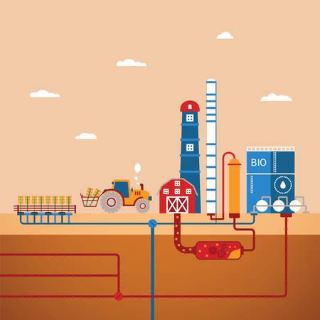 destilacion: Vector concepto de planta de biocombustibles refinería para el procesamiento de recursos naturales como el biodiesel