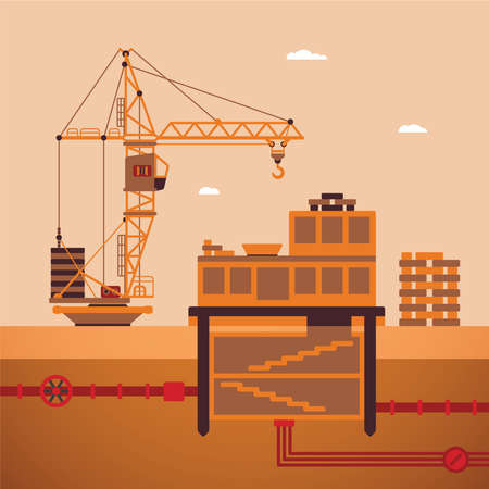 utilities: Vector concept of residential house construction process with crane and underground utilities
