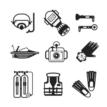 lifejacket: Set of vector monochrome diving icons like mask fins flippers flashlight sea boat underwater photo camera and scuba in flat style