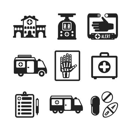 medical report: Set of vector monochrome medical icons like hospital building ambulance car first aid kit x-ray pills drugs and tablets in flat style