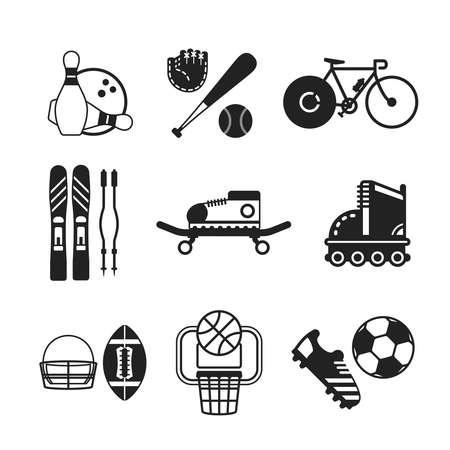 guante de beisbol: Conjunto de vectores en blanco y negro iconos de los deportes como los bolos béisbol bicicleta esquí alpino monopatín rodillos de fútbol americano y baloncesto de estilo plano
