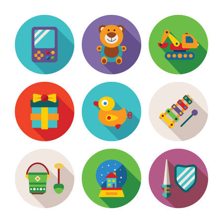 xylophone: Set of vector colorful kids toys icons in flat style like portable game teddy bear excavator duck gift bucket snow globe sword shield and xylophone Illustration