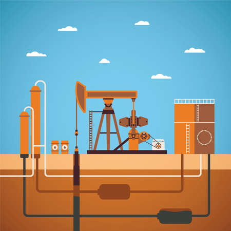 Vector concept of equipped oil well with pipes network tank and distillation column Illustration
