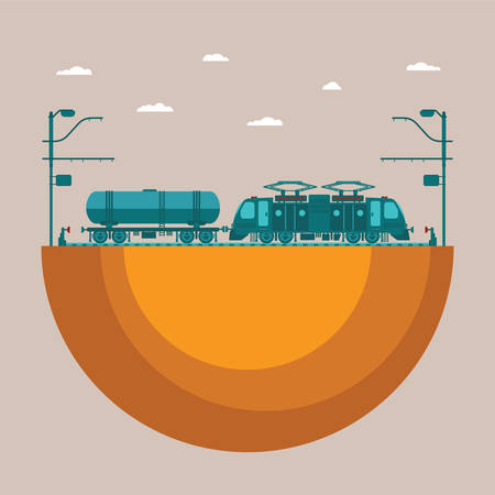 halt: Vector concept of railway transport system with electric locomotive tank and railroad Illustration