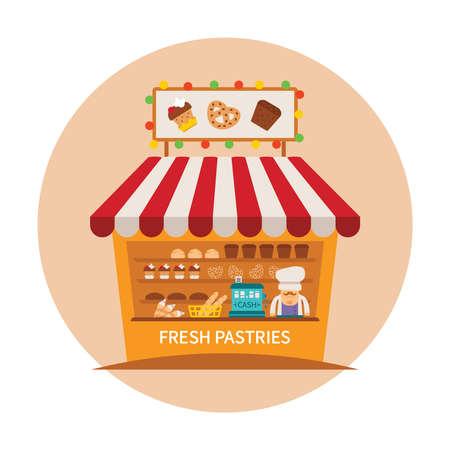 bakery store: Bake shop or baking store vector concept Illustration