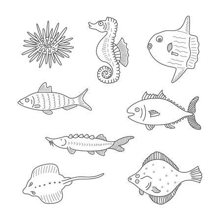 Conjunto de peces del doodle del vector monocromo y mar los habitantes aislados sobre fondo blanco Foto de archivo - 33628859