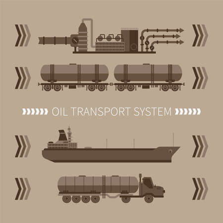 freighter: Abstract vector concept of mineral oil transport system