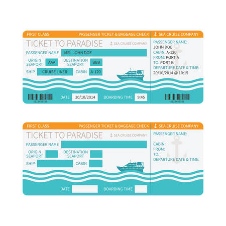 boarding card: Sea cruise ship boarding pass or ticket template
