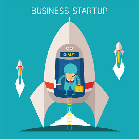entrepreneur: Vector concept of business startup with space rocket and cosmonaut