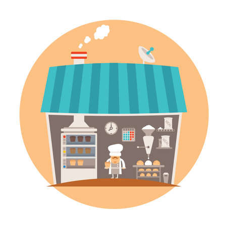 biscuit factory: Bakery or bakeshop vector concept Illustration
