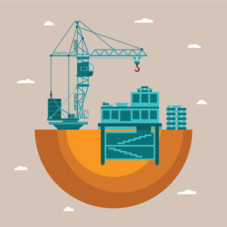 underground: Vector concept of residential house construction process with crane and underground utilities