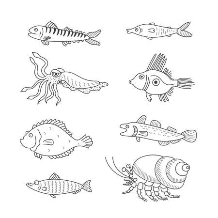 herring: Set of monochrome vector doodle fishes and sea dwellers isolated on white background Illustration